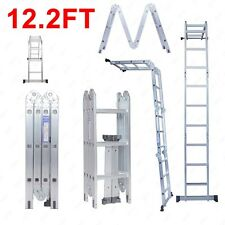 12.2FT Aluminum Folding Multi Purpose Step Ladder Scaffold Extendable Heavy Duty