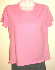 Todd & Duncan Pink Short Sleeve Stretch Cashmere Crewneck Sweater Size XL Mint