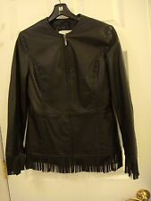 Pamela McCoy Motorcycle Riding Biker Black Fringed Leather Jacket Ladies Size XS