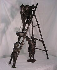 "MEIJI PERIOD BRONZE SCULPTURE BY UDAGAWA KAYUS C.1900 48"" TALL MUSEUM QUALITY"