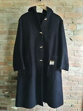 French Vintage Toggle Coat Wool Long Navy Blue Hood A Line Made In France Size S