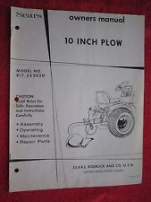 "1970""s SEARS GARDEN TRACTOR 10"" PLOW OPERATORS - MAINTENANCE - PARTS MANUAL"