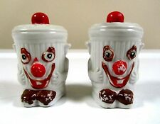 Vintage Happy Clown Face Anthropomorphic Trash Can Salt and Pepper Shakers