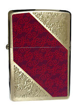 Zippo Lighter 28377 Damask Pattern Brushed Brass Windproof Classic NEW