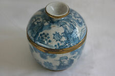 Antique Chinese Blue Painted Porcelain Small Bowl & Lid w/Marks - Rim Protected