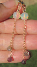 HUGE!  7mm Round Ethiopian Opal & Umba Sapphire Earrings Solid 14K Yellow Gold
