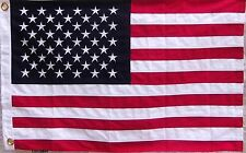 HEAVY COTTON USA AMERICAN FLAG - 2 feet X 3 ft EMBROIDERED STARS & SEWN STRIPES