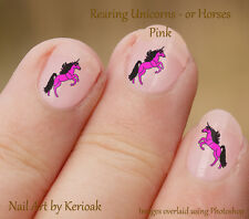 Rearing Unicorn or Horse, Pink and Black 24 Unique Designer Nail Art Stickers