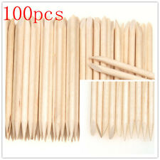 100* Nail Art Cuticle Pusher Remover Pedicure Manicure Orange Wood Stick Tool Go