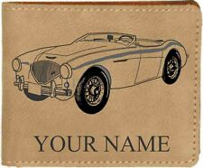 Austin Healey 100 Leather Billfold With Drawing and Your Name On It-Nice Quality