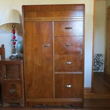 vintage art deco waterfall chifferobe armoire chifforobe wardrobe antique mahogany armoire