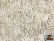 "Faux Fur Long Pile MONGOLIAN SHEEP IVORY Fabric / 64""W / Sold By the yard"