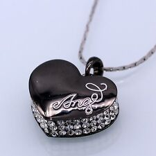 Luxury Chic Heart Pendant Black Zircon  18k White Gold Plated Crystal Necklace