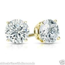 4 Ct Round Earrings Studs Real 18K Yellow Gold Brilliant Cut Basket Screw Back