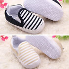 Baby Kids Toddler Unisex Boys Girls Cotton Blend First Navy Stripe Shoes