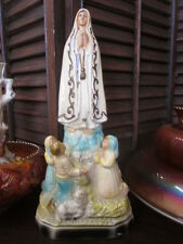 Vintage Lady Fatima Three Children Mary Chalkware Statue Figurine    BX 50