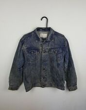 VTG BLUE ACID WASH URBAN RENEWAL TRUCKER DISTRESSED OVERSIZED DENIM JACKET UK S