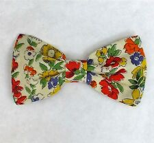 GENUINE VINTAGE 40s CUTE FLORAL COTTON FABRIC 4ins HANDMADE HAIR BOW CLIP E417
