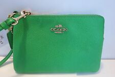 Coach Embossed Leather Lime Green Small Wristlet Retired Color 52392 NWT