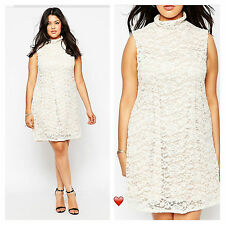 Praslin @ Simply Be Plus Size  26 Coffee Cream Lace High Neck DRESS Party Cute