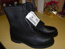 "NEW "" ADDISON "" BLACK LEATHER MILITARY COMBAT BOOTS - STEEL TOE - SIZE 12 R"