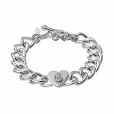 NWT Juicy Couture Silver-Tone Heart Curb Chain Toggle Bracelet