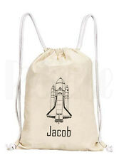 Personalised Space Rocket (line drawing) Drawstring Rucksack Canvas Gym/ PE Bag