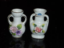 """Vintage Miniature Porcelain Vases with Roses and accented with Gold ~2-3/4"""" tall"""