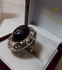 Cool Large Vintage Black Molded Plastic Scarab Silver tone Filigree Ring