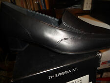 Theresia M, Dress Shoe, NANCY, Black Leather Women Size 8 1/2 Medium