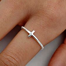 .925 Sterling Silver Ring size 8 Sideways Cross Christian Side Ladies New p96