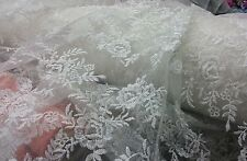 Top quality off white deisgner net beautifull embroidery floral design fabric