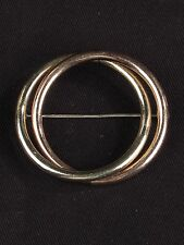 """Vintage signed Taylord gold filled circle ring brooch pin copper rose tone 2"""""""