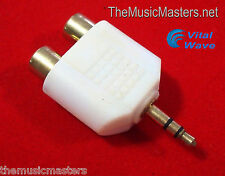 "3.5MM 1/8"" Stereo Male to (2) RCA Female Jacks Audio ""Y"" Splitter Adapter VWLTW"