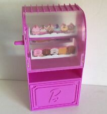 Barbie Doll House Furniture Rotating Bakery Case Cupcake Donut Shop For Diorama