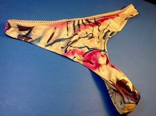 Women Panties,Thongs Size 6 Multicolor Floral Satin Silky W/ Decoration