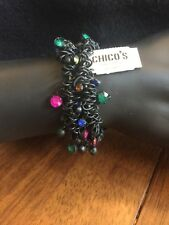 CHICO'S Two Black Stretch Bracelets With Multi Color Stones~NWT