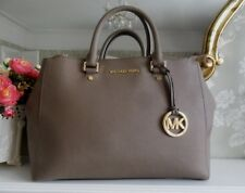 Michael Kors Sutton Dark Dune Grey Taupe Satchel Hand Bag