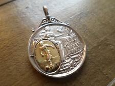 UNUSUAL ANTIQUE VINTAGE STERLING SILVER & GOLD POCKET WATCH CHAIN FOB MEDAL 1912