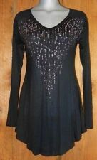 NWT VOCAL TUNIC SHIRT TOP cowgirl western STONE BLING VINTAGE XL BLACK victorian
