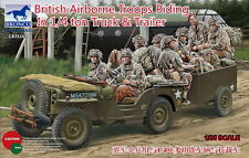 Bronco Model kit 1/35 British Airborne Troops Riding In 1/4ton Truck & Trailer