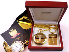 Medical Caduceus GOLD Keyring & Pocket Watch Lux Gift Set Doctor Nurse Dentist