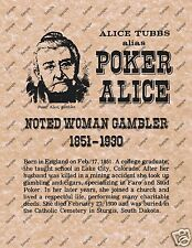 ALICE TUBBS AKA POKER ALICE OLD WEST POSTER Texas hold em casino gambling 103