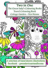 Two books in One Zen Henna and Cottage gdn 20 pgs Adult colouring art therapy
