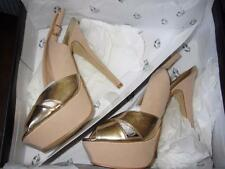 VICTORIA SECRET COLIN STUART ~ $98 NEW GOLD & TAN PLATFORM SHOES HEELS 6.5 NWT