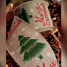 Wired Hessian Christmas Ribbon with Xmas Trees & Red Glitter Cake Wreath Wide