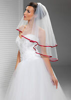 """2T White / Ivory Wedding Prom Bridal Elbow Veil With Comb 30""""-Red Satin Edge"""