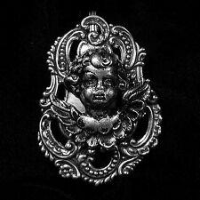 Silver Cherub Angel Clip-On Brooch Medallion NEW