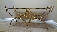 Hollywood Regency Maison Jansen-Style Brass Swan Head Bench MCM 1960's ITALY