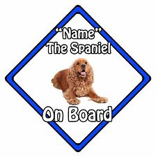 Personalised Dog On Board Car Safety Sign – Cocker Spaniel On Board Blue